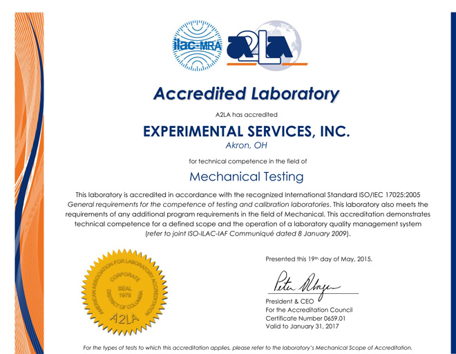ESI Accreditation Certificate
